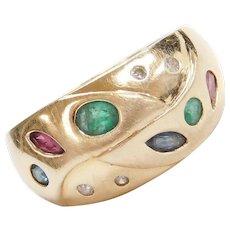 14k Gold .63 ctw Natural Gemstone and Diamond Ring