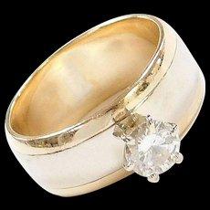 Vintage 14k Gold Two-Tone .63 Carat Diamond Engagement Ring