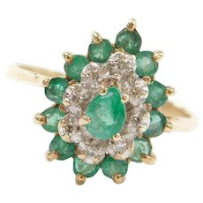 Vintage 10k Gold Two-Tone .89 ctw Natural Emerald and Diamond Ring