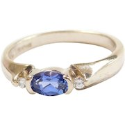 Vintage 14k White Gold .65 ctw Sapphire and Diamond Ring