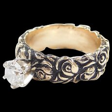 Vintage 14k Gold .66 Carat Diamond Engagement Ring with Oxidized Rose Flower Details ~ Floral
