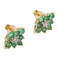 .64 ctw Natural Emerald and Diamond Stud Earrings 14k Gold