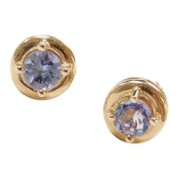 Vintage 14k Gold .66 ctw Iolite Stud Earrings