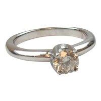 Vintage 14k White Gold .66 Carat Solitaire Diamond Engagement Ring