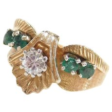 Vintage 14k Gold .71 ctw Natural Emerald and Diamond Ring