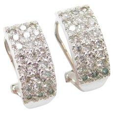 .72 ctw Diamond Earrings 14k White Gold Omega Hoops