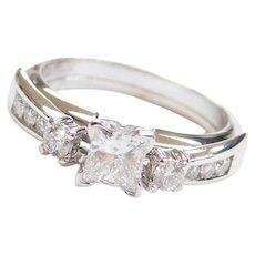.74 ctw Princess Diamond Solitaire Engagement Ring and Wedding Band Set 14k White Gold