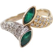 Vintage 18k Gold Two-Tone .74 ctw Natural Emerald and Diamond Bypass Ring