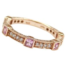 14k Rose Gold .75 ctw Pink Sapphire and Diamond Ring