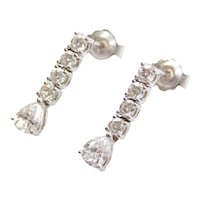 .80 ctw Diamond Drop Earrings 18k White Gold