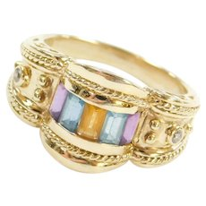 14k Gold .80 ctw Colorful Gemstone Ring with Ornate Detail ~ Diamond, Amethyst, Blue Topaz, Citrine