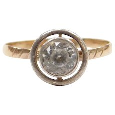 Victorian 14k Gold and Sterling Silver .80 Carat White Sapphire Ring
