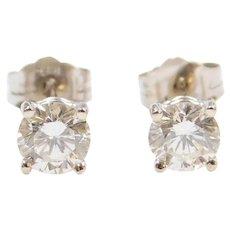 .81 ctw Diamond Stud Earrings 14k White Gold