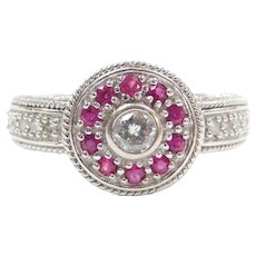 .81 ctw Diamond and Ruby Halo Ring 14k White Gold