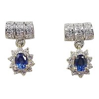 Vintage 18k Gold .82 ctw Sapphire and Diamond Earrings