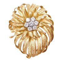 Vintage 18k Gold .84 ctw Diamond Pin / Brooch