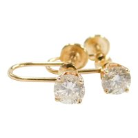 Vintage 14k Gold .84 ctw Diamond Earrings ~ Screw Backs ~ Non-Pierced