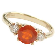.84 ctw Mexican Fire Opal and Diamond Ring 14k Gold