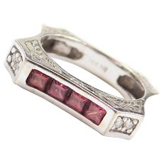 Art Deco Revival 14k White Gold .84 ctw Ruby and Diamond Ring
