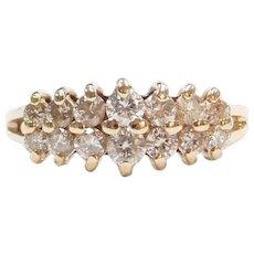 .86 ctw Diamond Double Row Band Ring 14k Gold