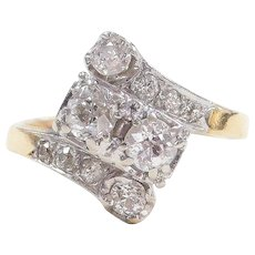 Art Deco .87 ctw Diamond Bypass 14k Gold and Platinum Ring