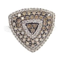 .88 ctw Chocolate and White Diamond Trillion Shaped Fashion Ring 10k White Gold