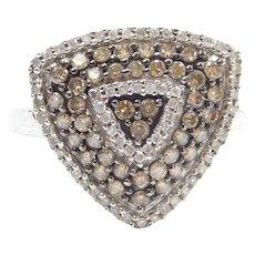 .88 ctw Chocolate and White Diamond Trillion Shaped Fashion Ring 10k White Gold