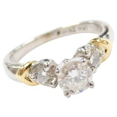 .88 ctw Diamond Engagement Ring Platinum and 18k Yellow Gold ~ Two-Tone