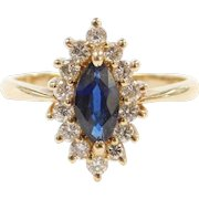 Vintage 14k Gold .91 ctw Sapphire and Diamond Halo Marquise RIng