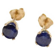 Vintage 14k Gold .92 ctw Natural Sapphire Stud Earrings