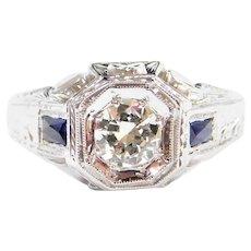 Art Deco .93 ctw Sapphire and Diamond 18k White Gold Ring Men's