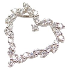 .93 ctw Faux Diamond Heart Pendant 14k White Gold
