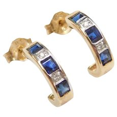 .94 ctw Sapphire and Diamond Hoop Earrings 14k Gold