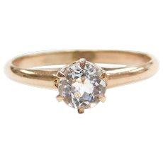 Edwardian .95 Carat White Paste Engagement Ring 10k Gold
