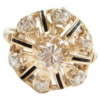 Edwardian .96 ctw Champagne Diamond Ring with Black Enamel Detail 14k Yellow Gold