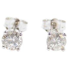 .96 ctw Diamond Stud Earrings 14k White Gold