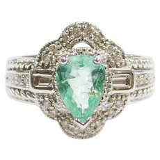 .97 ctw Natural Emerald and Diamond Ring 10k White Gold