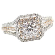 .98 ctw Diamond Double Halo Engagement Ring 14k White and Rose Gold