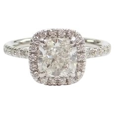 GIA Certified Cushion Cut 1.81 Carat VS2 Clarity H Color Diamond Halo Engagement Ring 14k White Gold Eternity .76 ctw ~ 2.57 ctw