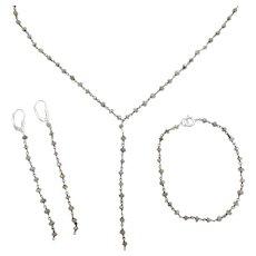 Labradorite Bead Lariat Necklace, Bracelet and Dangle Earrings Set Sterling Silver