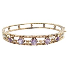 """Victorian Amethyst and Seed Pearl Hinged Bangle Bracelet 6 3/4"""" 10k Gold"""