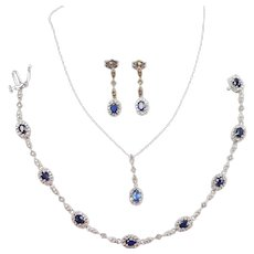 Sapphire and Diamond 1.84 ctw Necklace, Bracelet and Earrings Set 10k White Gold