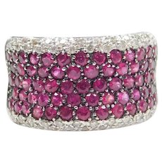 Fuchsia Ruby and Diamond 3.55 ctw Band Ring 18k White Gold