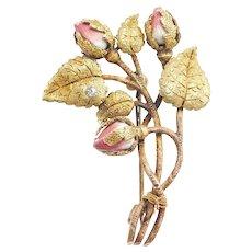 Victorian Lovely Enamel Budding Flower and Leaf Pin / Brooch 14k - 18k