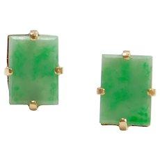 1950's 14k Gold Apple Green Jade Stud Earrings