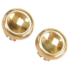 1989 Movado Designer 18k Yellow Gold Button Stud Earrings ~ Clip-On