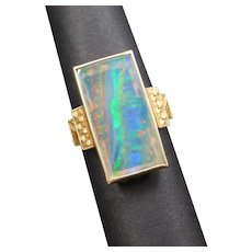 STUNNING Art Nouveau Opal Slice 18k Gold Ring with Floral Setting