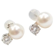 Lovely and Lustrous Cultured Pearl and Diamond Stud Earrings 14k White Gold