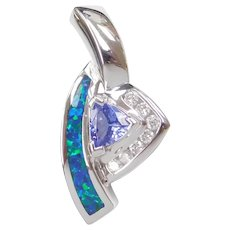14k White Gold .84 ctw Iolite, Diamond and Created Opal Pendant