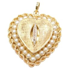 14k Gold BIG Perfume Heart Locket Pendant with Cultured Pearls and Diamonds
